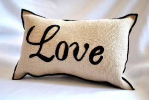 Love Amour Burlap Pillow