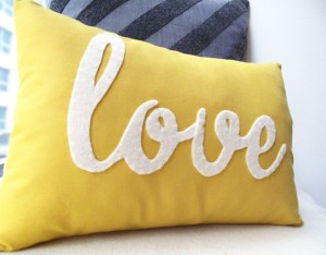 Yellow Love Pillow