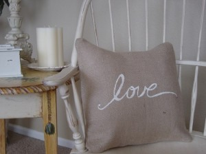 Burlap Love Pillow Cover