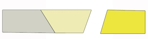Cut a new shape (yellow) and cut an angle on the end of shape #2 (tan).  Sew them together using the same method.